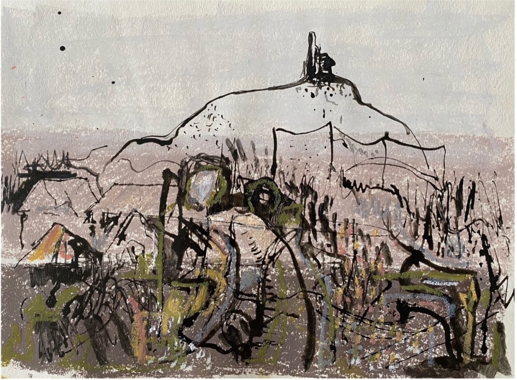 An artwork by Graham Riding, mostly done with black lines, creating a sense of landscape and rhythm on the page.