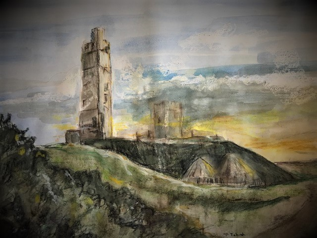 A darker variation on a watercolour painting by Tina Tabrah of the tower near Stirley Farm, atop a green hill with blue sky and yellow and orange sunlight in the background.